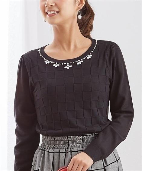 ビジュー×ブロックチェック柄がかわいいもっちり素材セーター ...