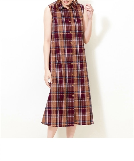 大きいサイズ  綿100%ぽこぽこシアサッカーノースリーブシャツワンピース ,スマイルランド, ワンピース, plus size dress