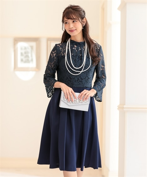 後リボン♪スタンドカラーレース切替ワンピースドレス(ネックレ...