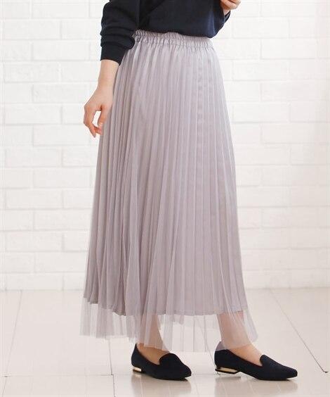 <ニッセン> チュールアコーディオンプリーツロングスカート (ロング丈・マキシ丈スカート)skirt