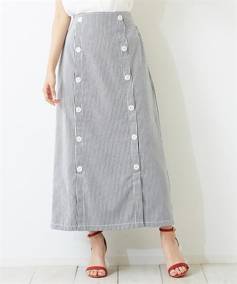 <ニッセン> ヒッコリーストライプ ダブルボタンフロントベンツスカート (ロング丈・マキシ丈スカート)skirt