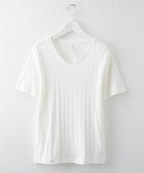 汗じみ防止素材 ワイドリブVネックプルオーバー (Tシャツ・...