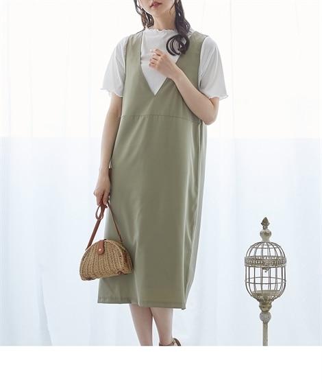2点セット(深Vネックジャンスカ+トップス) (ワンピース)Dress
