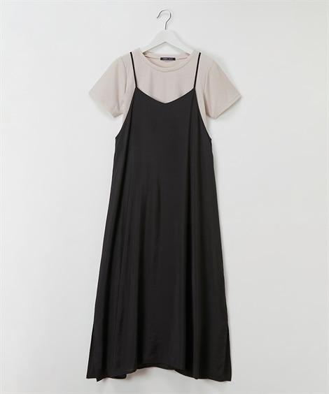 2点セット(キャミワンピース+テレコTシャツ) (ワンピース)Dress