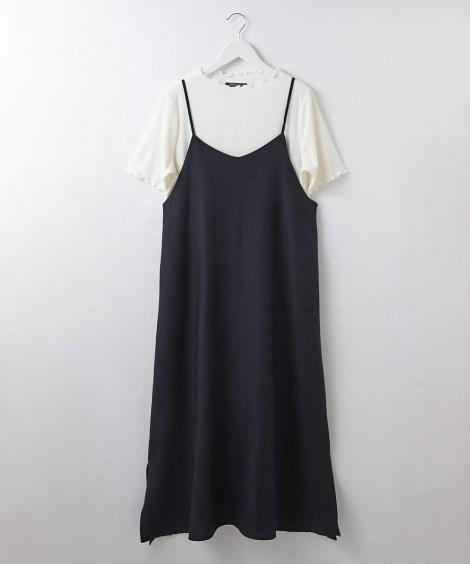 2点セット(麻調合繊キャミワンピ+テレコトップス) (ワンピース)Dress