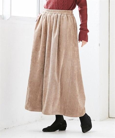 ゆったりサイズ スカート見え コーデュロイ スカーチョ。ガウ...