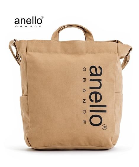 anelloGRANDE(アネログランデ)コットンキャンバスBIGロゴ2WAYトートバッグ(A4対応) トートバッグ・手提げバッグ, Bags