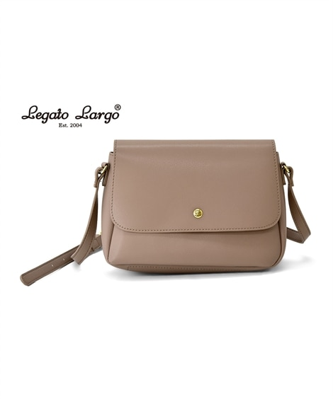 Legato Largo(レガートラルゴ)軽量ボンディングフェイクレザーフラップショルダーバッグ ショルダーバッグ・斜め掛けバッグ, Bags