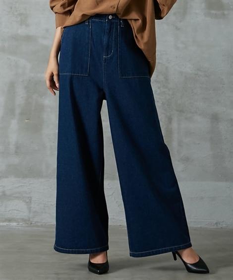 デニムベイカーワイドパンツ (レディースパンツ),pants