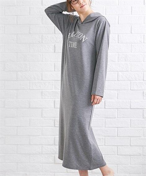 【WEB限定】ミニ裏毛薄手フード付ルームワンピース (パジャマ・ルームウェア)Pajamas