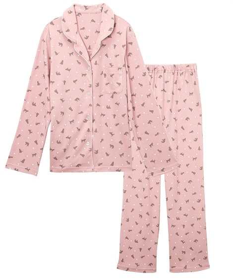 【WEB限定】綿混やわらかスムースネコ柄襟付き前開きパジャマ...