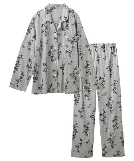 【WEB限定】綿混花柄前開き襟付きパジャマ (パジャマ・ルームウェア)Pajamas