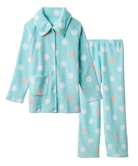 【WEB限定】ふわぬくサンゴフリースドット柄襟付き前開きパジャマ(6L) (パジャマ・ルームウェア)Pajamas