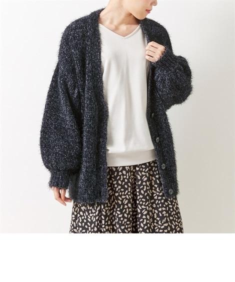 シャギーニットドロップショルダーカーディガン (大きいサイズレディース) plus size cardigan, ?襟衫, 開襟衫