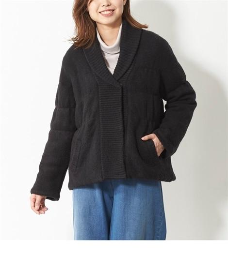中わたショート丈ニットジャケット(オトナスマイル) (大きい...