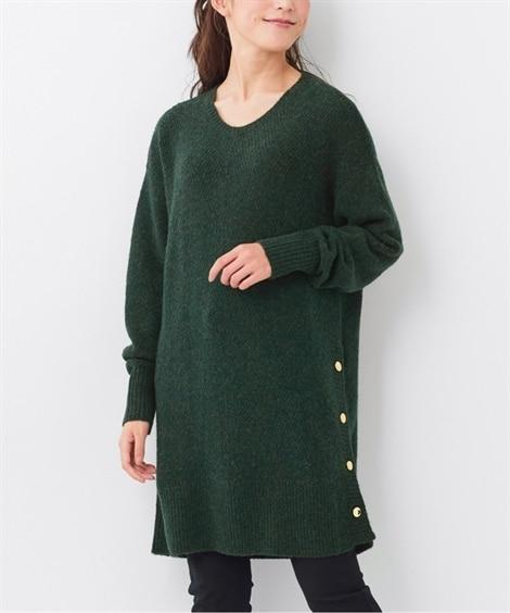 大きいサイズ ヤク混・裾ボタンデザインチュニック ,スマイルランド, ニット・セーター, plus size sweater,