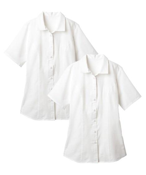 2枚組半袖ハマカラーシャツ(形態安定)(ゆったりバスト) 【...