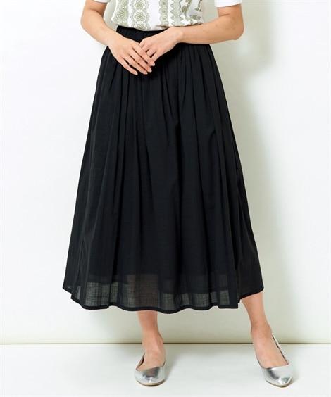 綿100%ロング丈フレアスカート (大きいサイズレディース)
