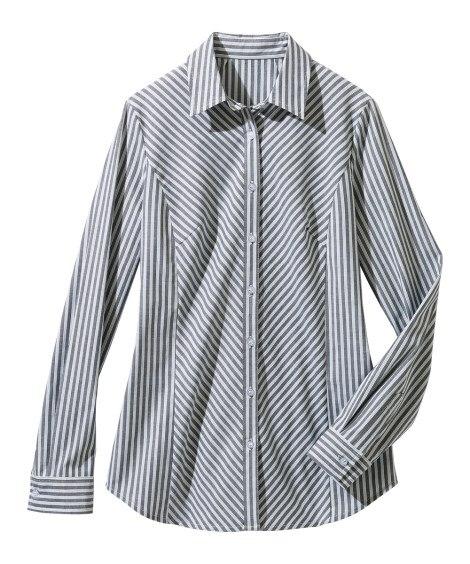 ストレッチシャツ(ゆったりバスト) (大きいサイズレディース...