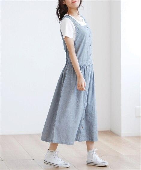 綿100%切替デニムジャンパースカート (大きいサイズレディ...
