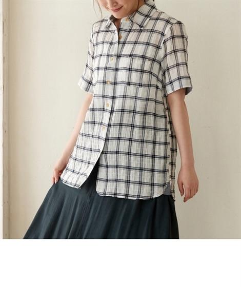 <ニッセン> テンセル麻シャーリングシャツ (大きいサイズレディース)ブラウスplus size