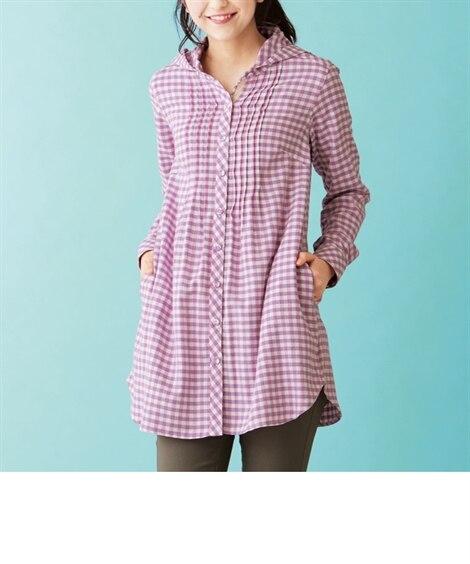 綿100%デザインチュニックシャツ (大きいサイズレディース...