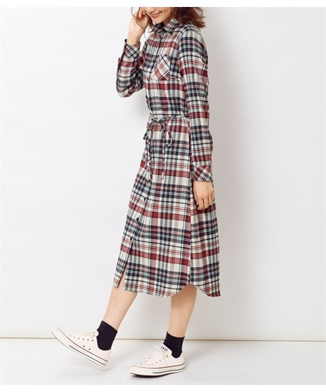 大きいサイズ 綿100%ロング丈ネルシャツワンピース(共ひもベルト付) ,スマイルランド, ワンピース, plus size dress