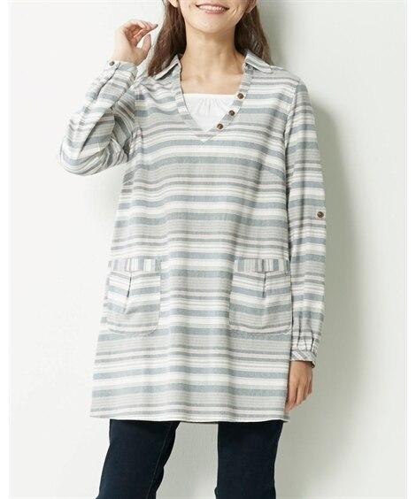 【大きいサイズ】 綿100%選べるシャツチュニック  plu...