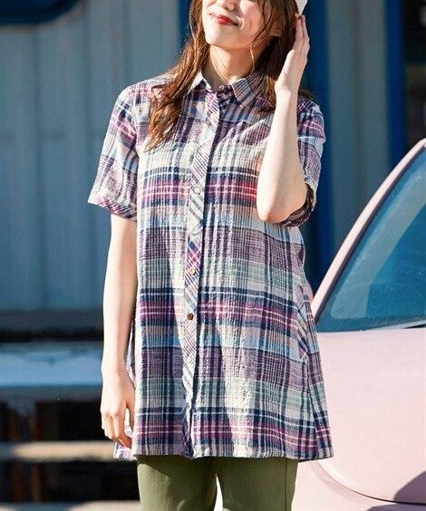【大きいサイズ】 綿100%半袖チェック柄Aラインシャツチュ...