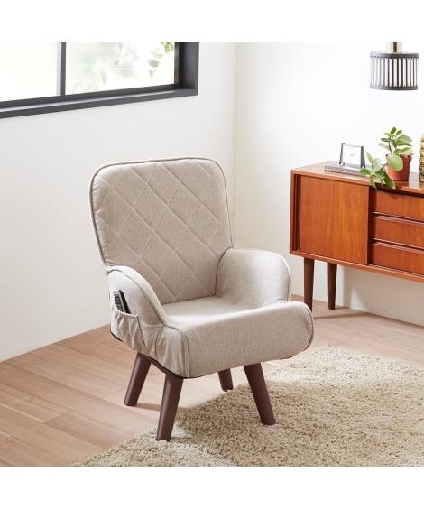 シンプルデザインのポケット付回転チェア ソファー...