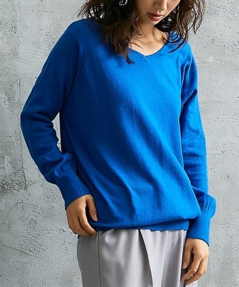 綿100%Vネックニット (ニット・セーター)(レディース)Knitting, Sweater,