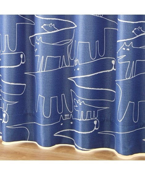 【送料無料!】手書きタッチアニマル柄遮光カーテン 遮光カーテ...