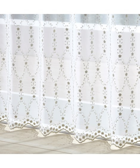 【送料無料!】トルコ刺繍フラワーライン柄レースカーテンの商品画像