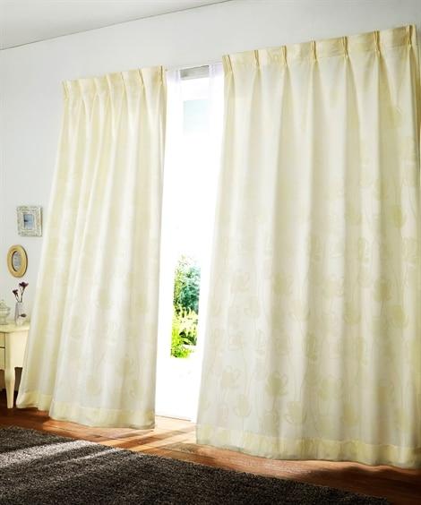 <ニッセン>【1cm単位オーダー】フェミニン調フラワー柄カーテン(1枚) ドレープカーテン(遮光あり・なし)