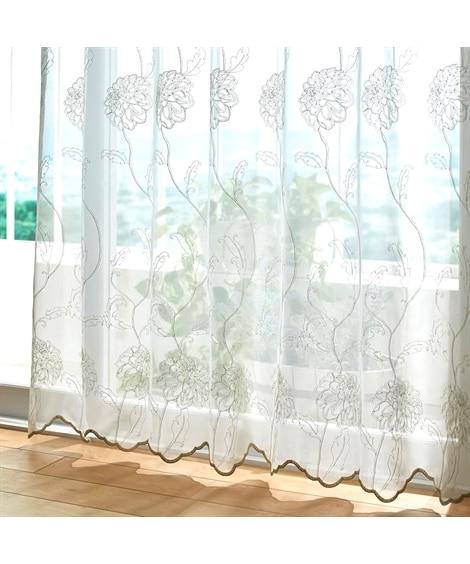 【1cm単位オーダー】ラメが上品に輝く紫陽花柄トルコ刺繍レースカーテン(1枚) レースカーテン・ボイルカーテン, Curtains, sheer curtains, net curtains(ニッセン、nissen)