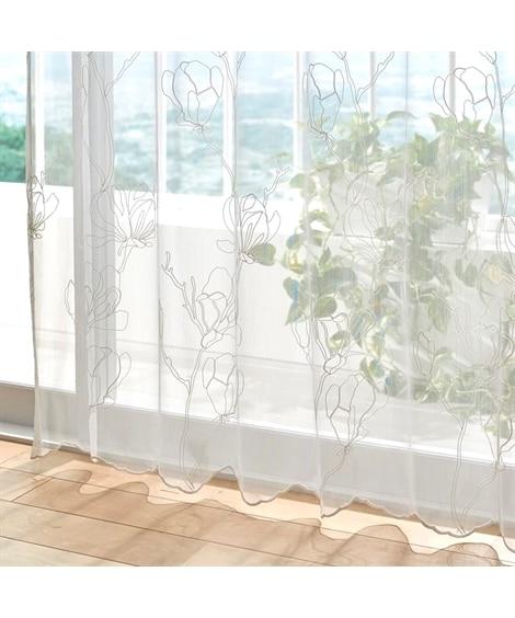 【1cm単位オーダー】ざっくり生地がナチュラルなヒアシンス柄トルコ刺繍レースカーテン(1枚) レースカーテン・ボイルカーテン, Curtains, sheer curtains, net curtains(ニッセン、nissen)