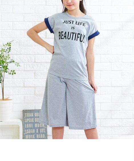 プリント半袖Tシャツ+フレアパンツ上下セット(女の子 子供服...