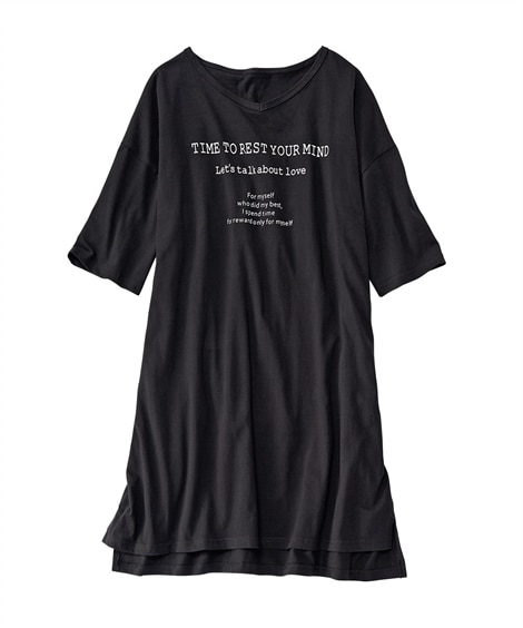 綿混ビッグT風Vネックルームワンピース(S~L) (パジャマ・ルームウェア)Pajamas