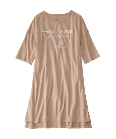 綿混ビッグT風Vネックルームワンピース(8L~10L) (パジャマ・ルームウェア)Pajamas