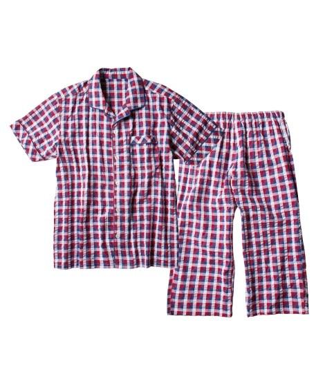 半袖前開きサッカーチェックパジャマ メンズパジャマ, Men's Pajamas