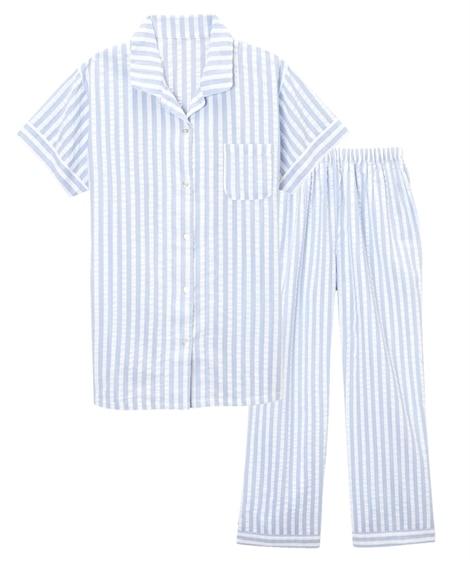 【WEB限定】綿100%ストライプ半袖前開きシャツパジャマ(...