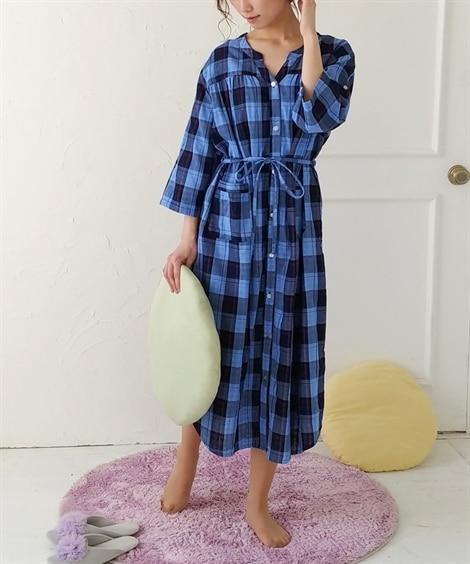 【産前。産後 授乳服】綿100% ダブルガーゼ ロールアップできる前開きマタニティ7分袖ネグリジェ (マタニティウエア・授乳服) Maternity clothing