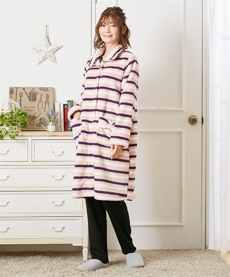 【産前。産後 授乳服】あったかマイクロファイバー マタニティボーダー前開きパジャマ (マタニティウエア・授乳服) Maternity clothing