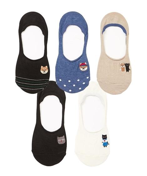 柴犬&猫刺しゅうカバーソックス5足組(フリーサイズ) カバーソックス, Socks