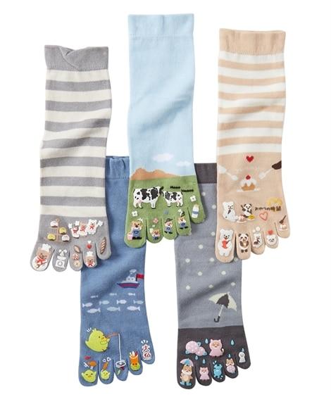 指先まで楽しい足口ゆったり5本指クルーソックス5足組(フリーサイズ) ショート・クルーソックス, Socks