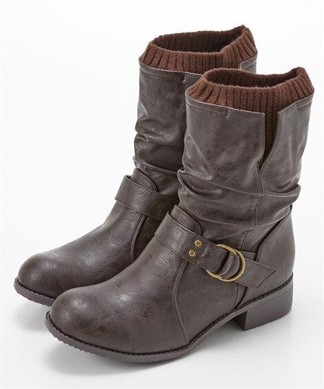 吸湿発熱ベルトハーフブーツ ブーツ・ブーティ, Boots