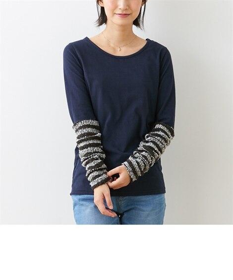 袖異素材切り替えトップス (Tシャツ・カットソー)