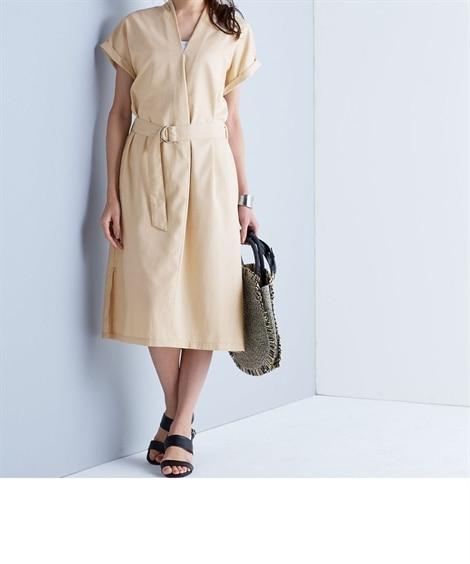 【Answer to 40】体型カバーも叶う深Vネックワンピース(共布ベルト付) (ワンピース)Dress
