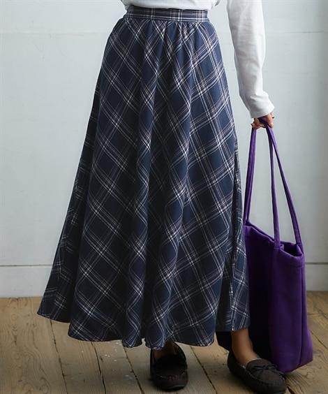 裏フリース先染チェックAラインスカート (ロング丈・マキシ丈スカート)Skirts