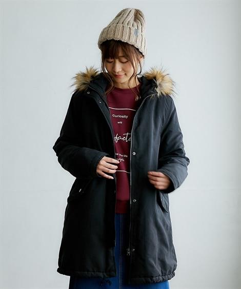 取り外せるフェイクファー付モッズコート (コート)(レディー...
